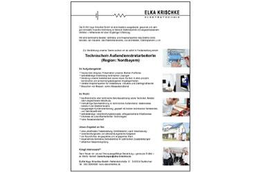 ELKA Krischke GmbH: Stellenanzeige Aussendienst Nordbayern