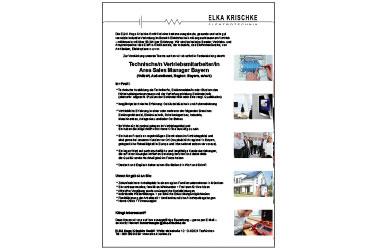 ELKA Hugo Krischke GmbH: Stellenanzeige Technischer Vertrieb, Bayern