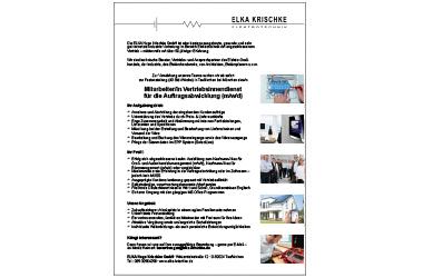Stellenanzeige ELKA: Vertriebsinnendienst, Auftragsbearbeitung